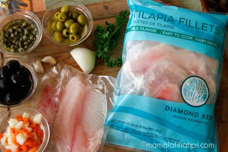 Ingredientes para relleno de empanadas de tilapia