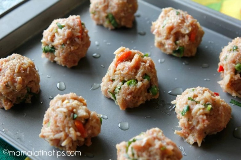 Chicken and fried rice albondigas before