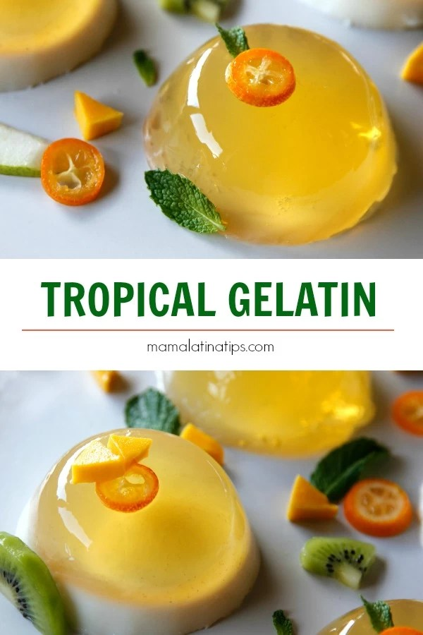 This is quite possibly the easiest, most delightful, tropical gelatin ever. You need just 3 ingredients, that's it. Made with 100% juice. #tropicalgelatin #gelatin #juicegelatin #mexicandesserts #mexicanfood #gelatinatropical #Milkgelatin