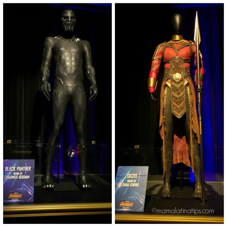 Black Panther and Okoye costumes at the Avengers: Infinity War Wold Premiere