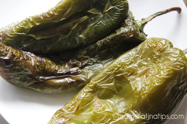 Grilled poblano peppers