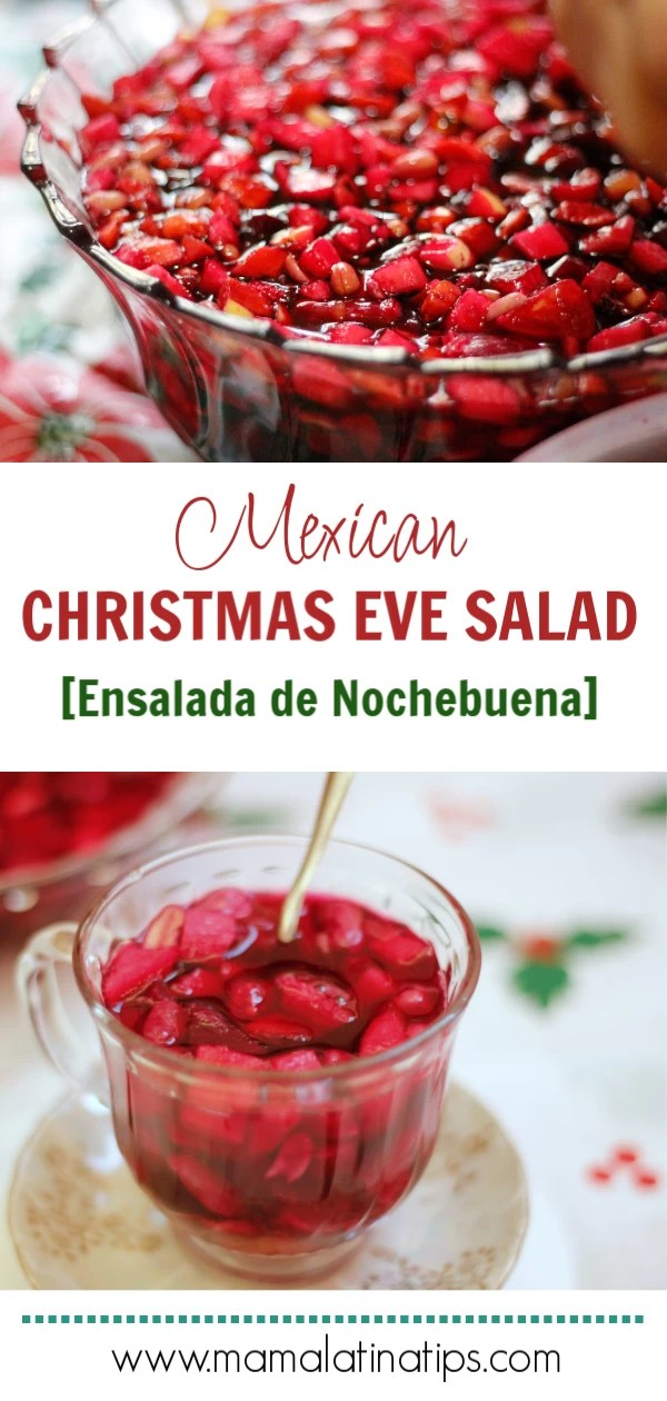 The fruit floats in an exquisite combination of beet and jamaica juice. This recipe makes plenty for all 35 of my family who are regularly together each Christmas and then some. I usually eat two or three cups of it myself. Recipe step by step. #mamalatinatipsrecipes #ensaladadenochebuena #Christmassalad #mexicanfood