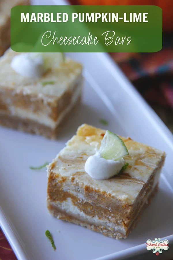 A sweet treat for the #holidays. These marbled pumpkin lime cheesecake bars are not just tasty but have a lot less sugar than you might think. They are made with pumpkin, lime, cream cheese and Truvía Cane Sugar Blend. Try them out! #mamalatinatipsrecipes #easyrecipe #cheesecakebars #pumpkin #lime