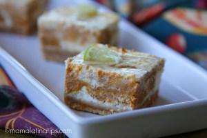 Barras de queso y calabaza marmoleadas