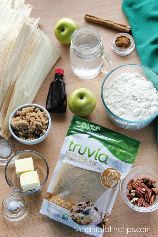 Truvia Brown Sugar Blend and ingredientes for making tamales