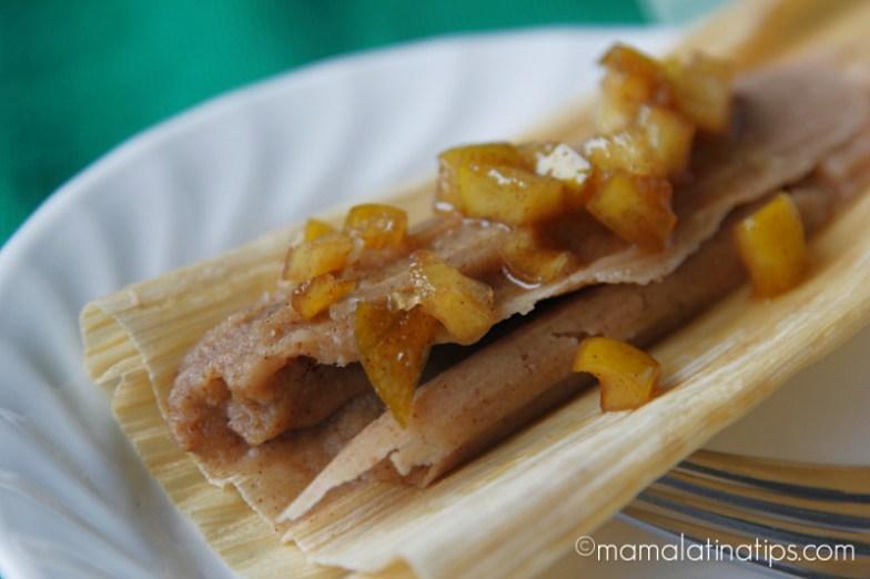 Tamales de manzana y canela
