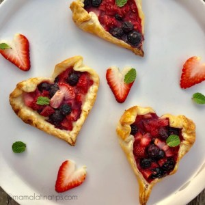 Heart shaped berry tarts