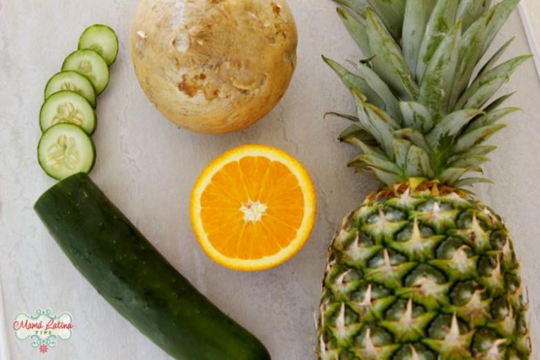 cucumber, jicama, orange and pineapple