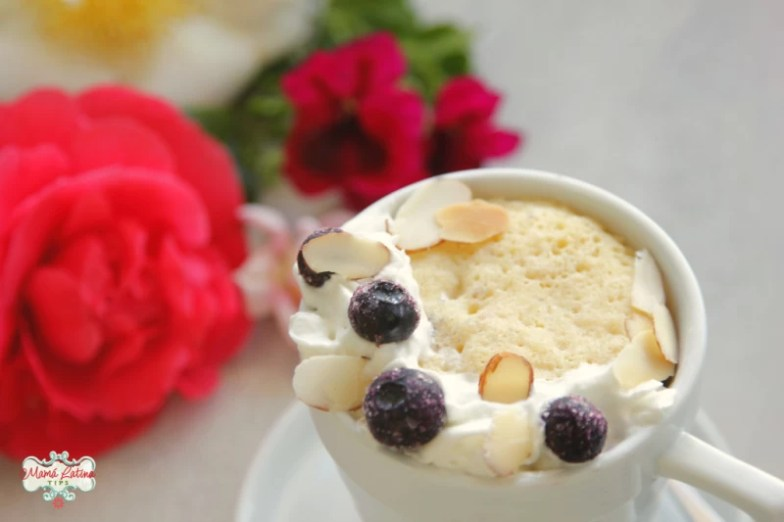 Cake in a mug with whipped cream and berries