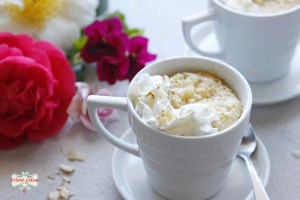 Amaretto mug cake with whipped cream