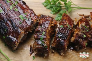 baked pork ribs with guajillo sauce