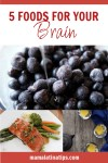 pinterest image with blueberry, salmon and green tea