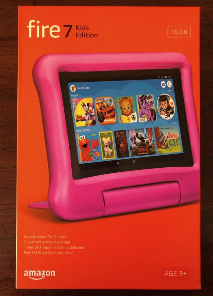 Tableta Fire 7 para niños en su caja