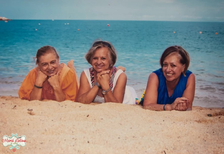 three ladies in the beach