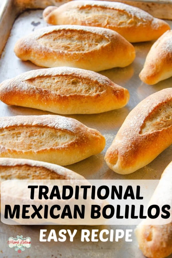 mexican bolillos on a baking sheet with overlay text