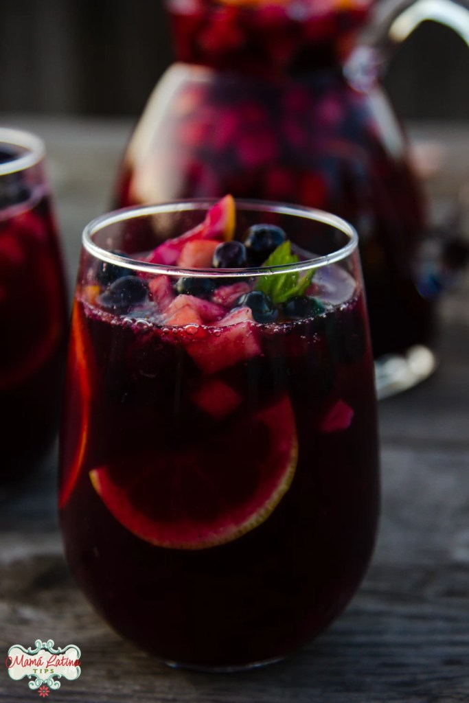 sangria in a glass with orange and fruit