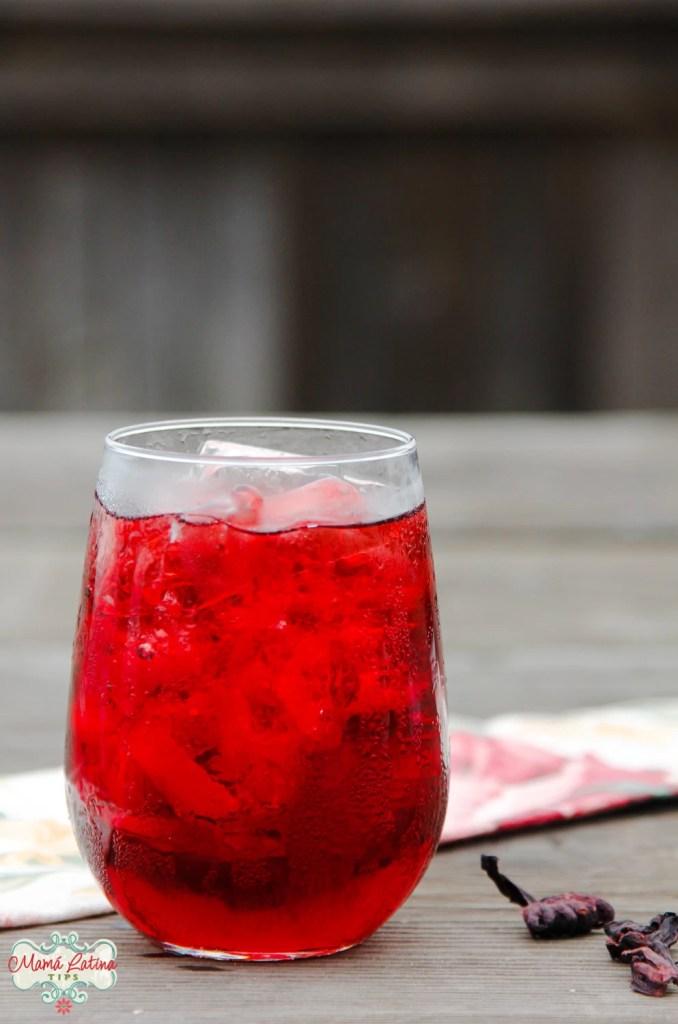 Vaso de cristal con hielo y agua fresca roja