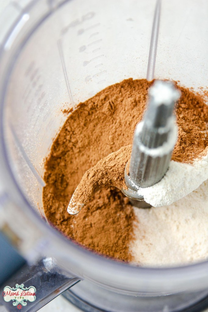 cocoa powder and flour in a blender