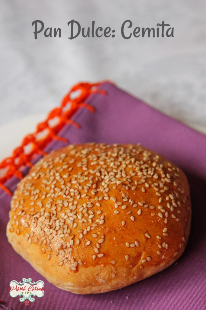 a Mexican bread called cemita with sesame seeds on top