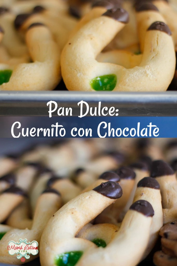 Cuernitos dulces con puntas de chocolate