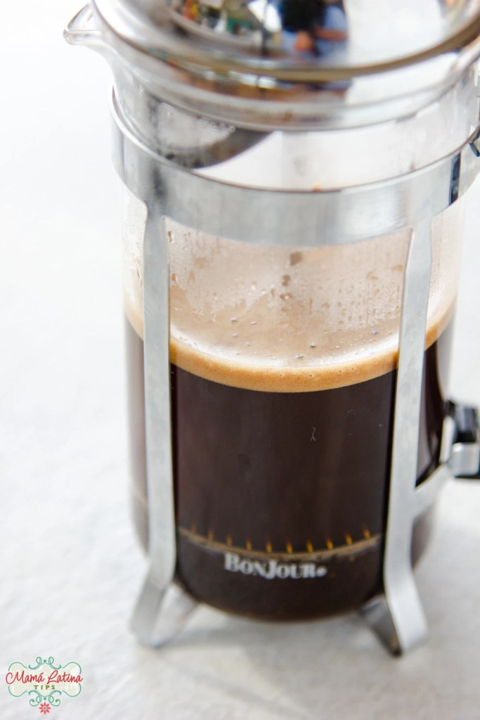 A french press with coffee