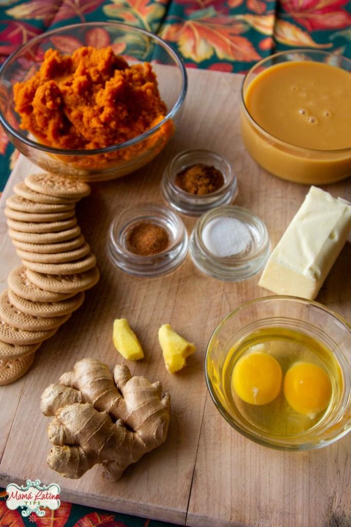 ingredientes, huevos, jengibre fresco, galletas, especias