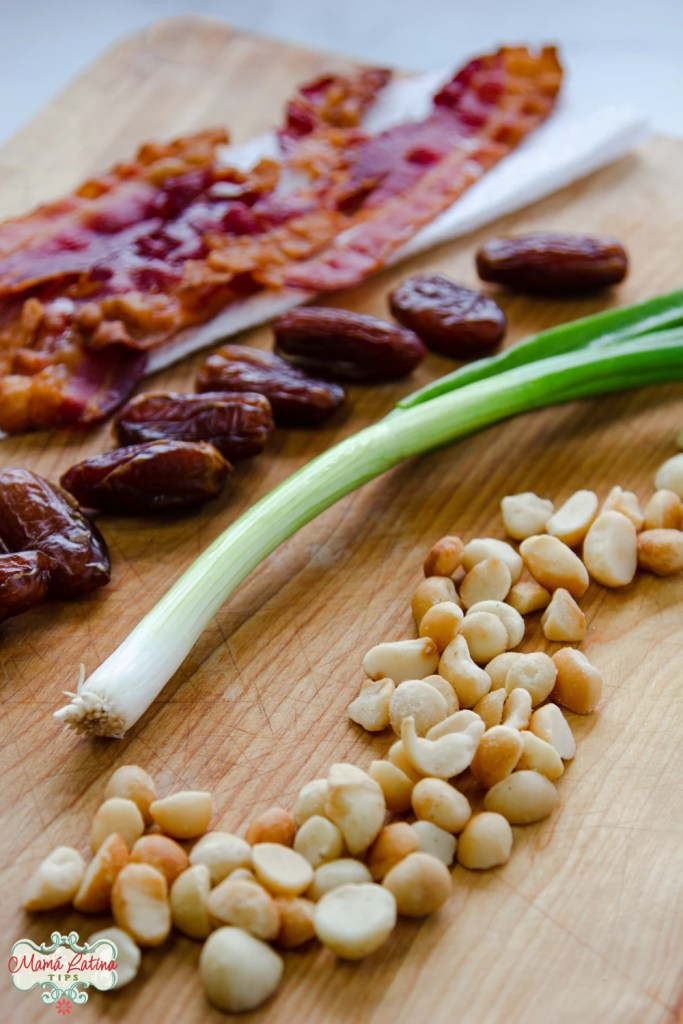 macadamia nuts, green onions, dates and bacon