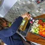 Oil pouring for Roasting Vegetables