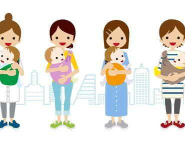 4 vrouwen die kindje dragen