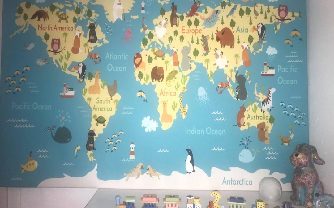 Wereldkaart op canvas voor de kinderkamer