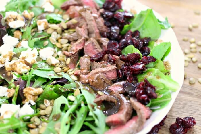 STEAK SALAD WITH GOAT CHEESE AND CRANBERRIES