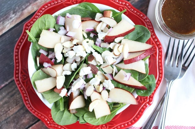 Spinach & Pear Salad with Three Cheese Chicken Carbonara