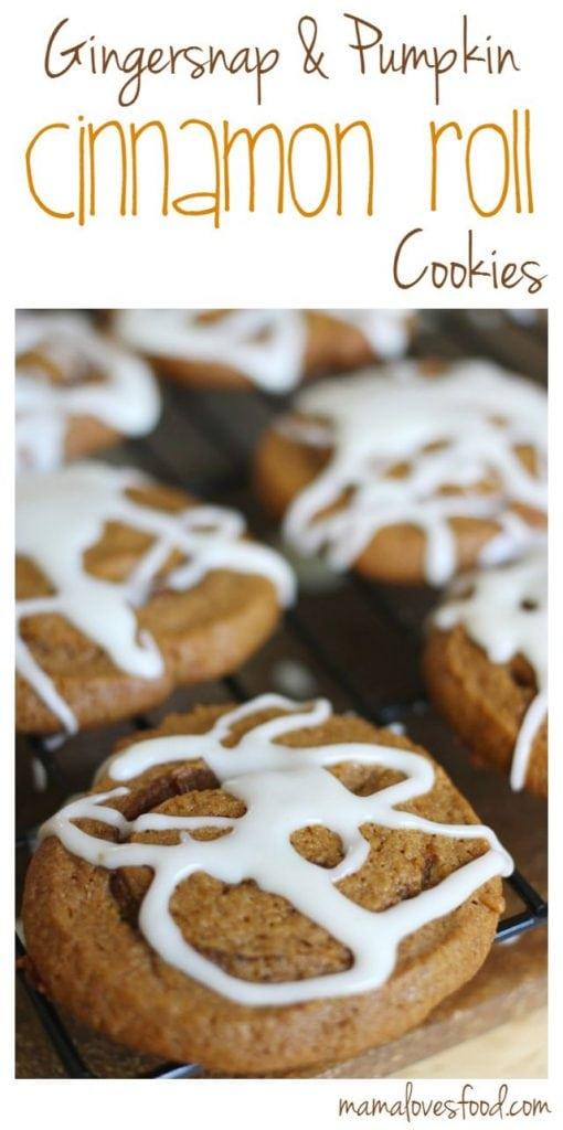 Gingersnap and Pumpkin Cinnamon Roll Cookies