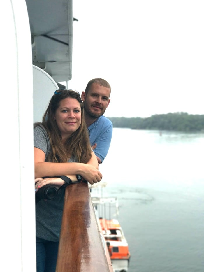 Early morning watching the panama canal from our balcony on the princess coral