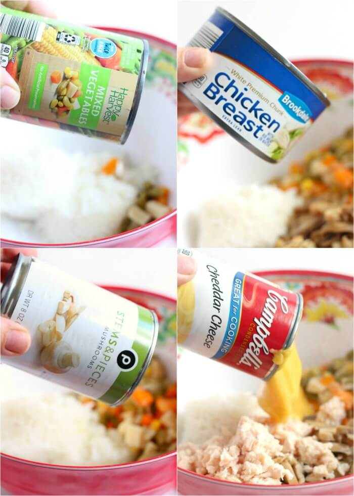 COLLAGE OF CANS POURING INTO BOWL FOR CHEESY RICE CASSEROLE