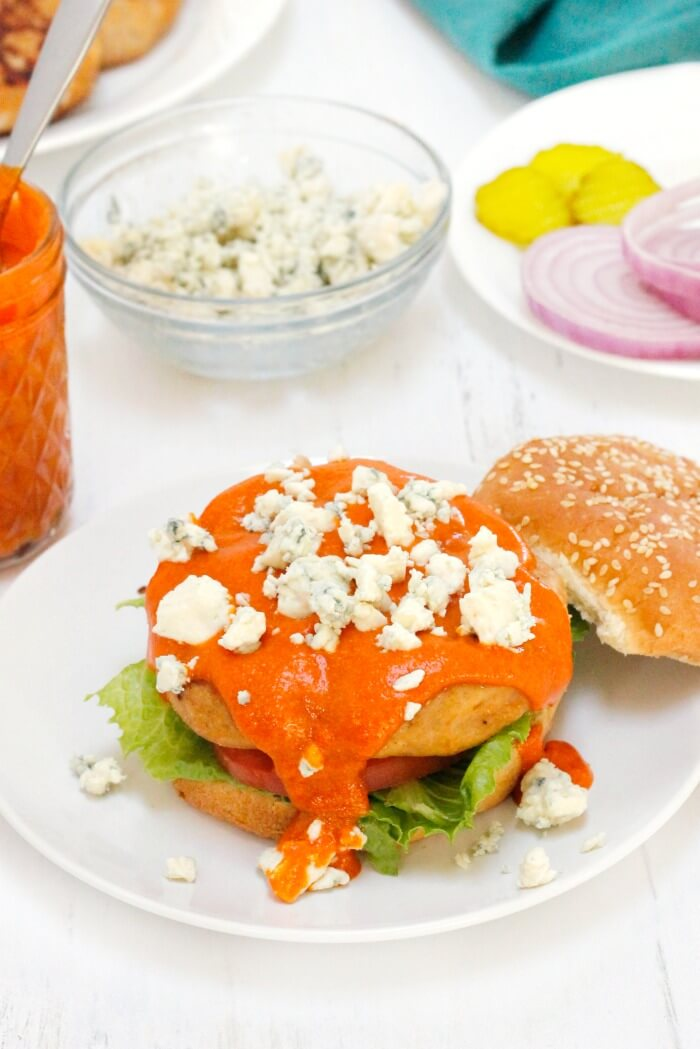 BUFFALO CHICKEN BURGER WITH BLUE CHEESE CRUMBLES
