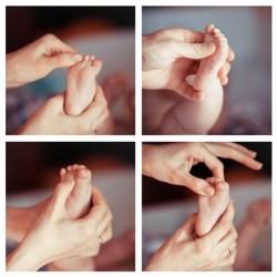 Newborn baby feet collage