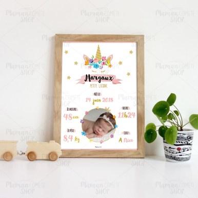 affiche_personnalisee-premier-naissance-cadre-idee-cadeau-offrir-bebe-licorne-1