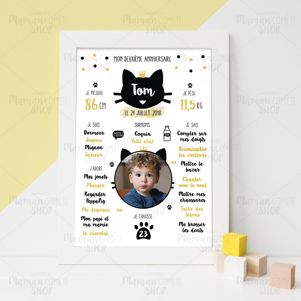 affiche anniversaire 2 ans et plus th me chat maman com te. Black Bedroom Furniture Sets. Home Design Ideas