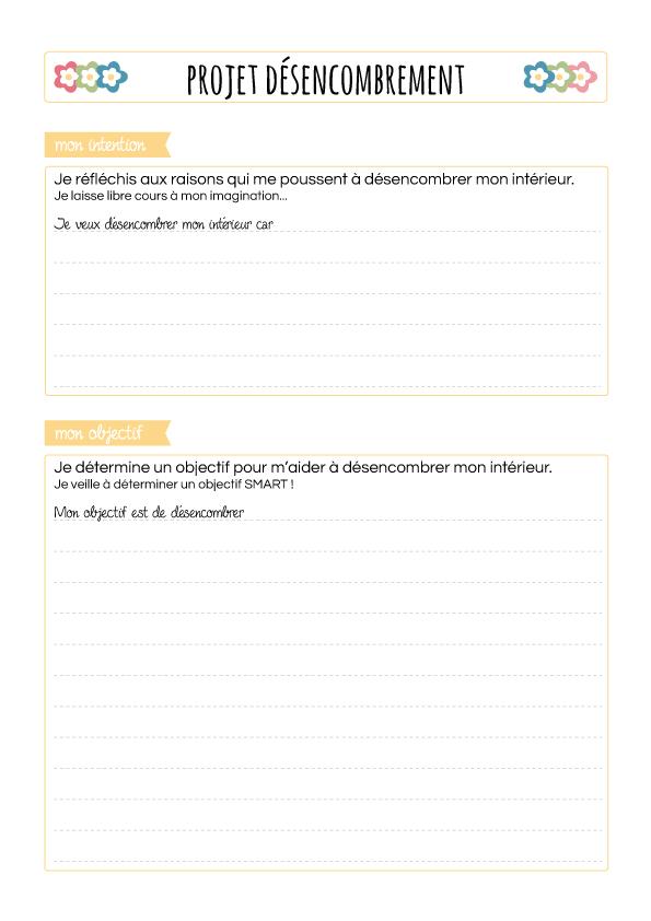 Projet désencombrement, fiche 1 : intention et objectif
