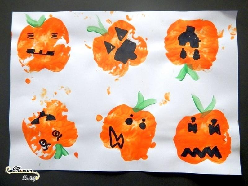Créer des citrouilles Halloween avec des empreintes de pomme - Peinture et dessin - Activité créative enfants - Automne et Halloween - Récup et Nature - Décoration Halloween - Arts visuels - maternelle - mslf