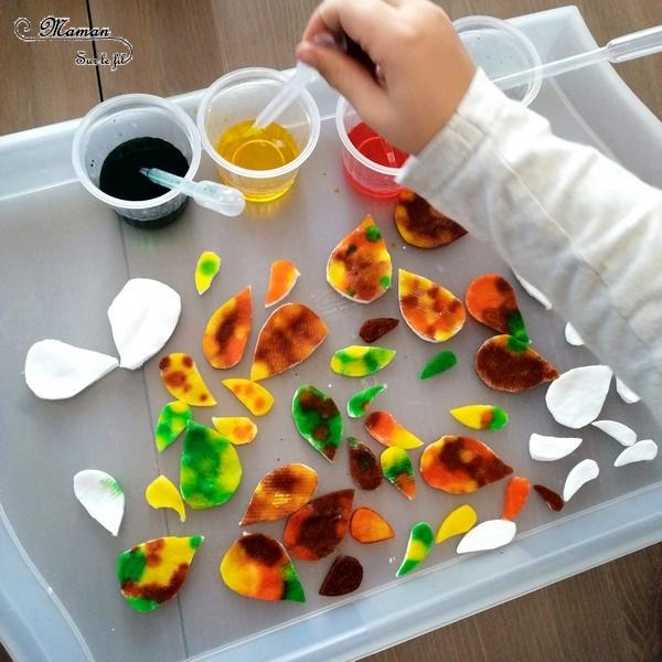 Activité enfant - Arbre automne en cotons démaquillants et encre - créative et manuelle - collage et motricité fine - Arts visuels maternelle - mslf