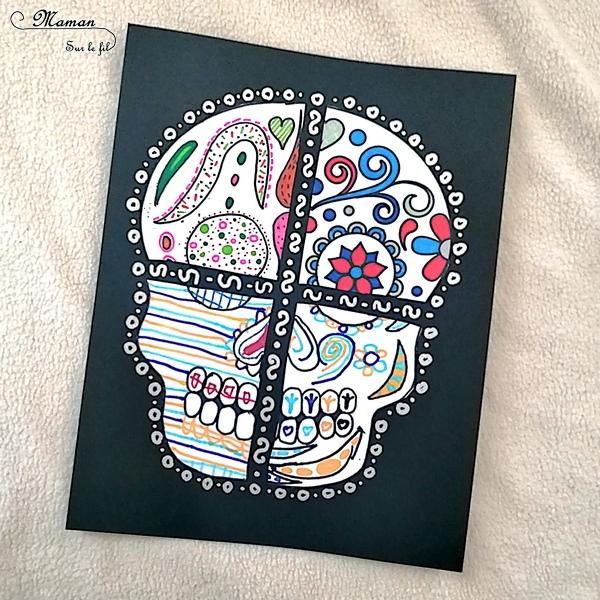 Activité créative enfants - Crânes déstructurés Dios et Dia de los muertos - Cavaleras - Mexique Et Amérique du Sud - Dessin, coloriage et découpage - décor - Puzzle - Arts visuels Halloween maternelle et cycles 2 et 3 - mslf