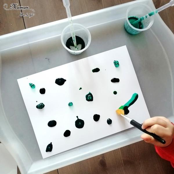 Activité enfant - Sapins avec encre et gros sel - Peinture, découpage, collage, graphisme - créative et manuelle - Arts visuels maternelle Noël et Hiver - mslf