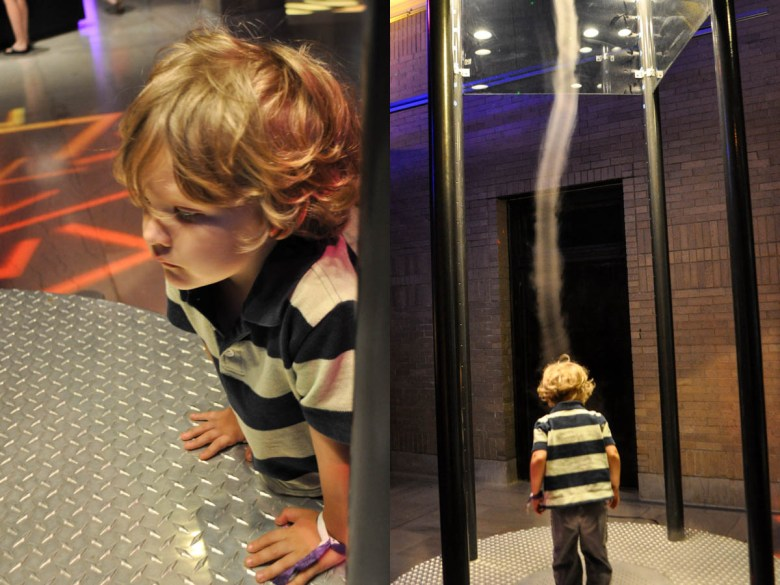 A tornado tunnel at Science City inside Kansas City's Union Station allows kids to see a tornado form and even touch the wind inside of it.