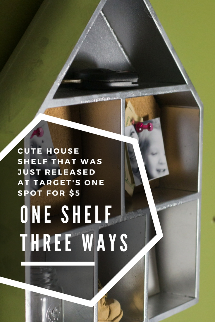 It is AMAZING what a little spray paint will do! This super cute house shelf is only $5 at @Target, and can be used in every room of the house! This post shows how to make it an awesome LEGO Minifig shelf, a command center shelf that holds keys, notes, and trinkets, and a super-organizing desk tray. #TargetMadeMeDoIt #TMMDI @Target
