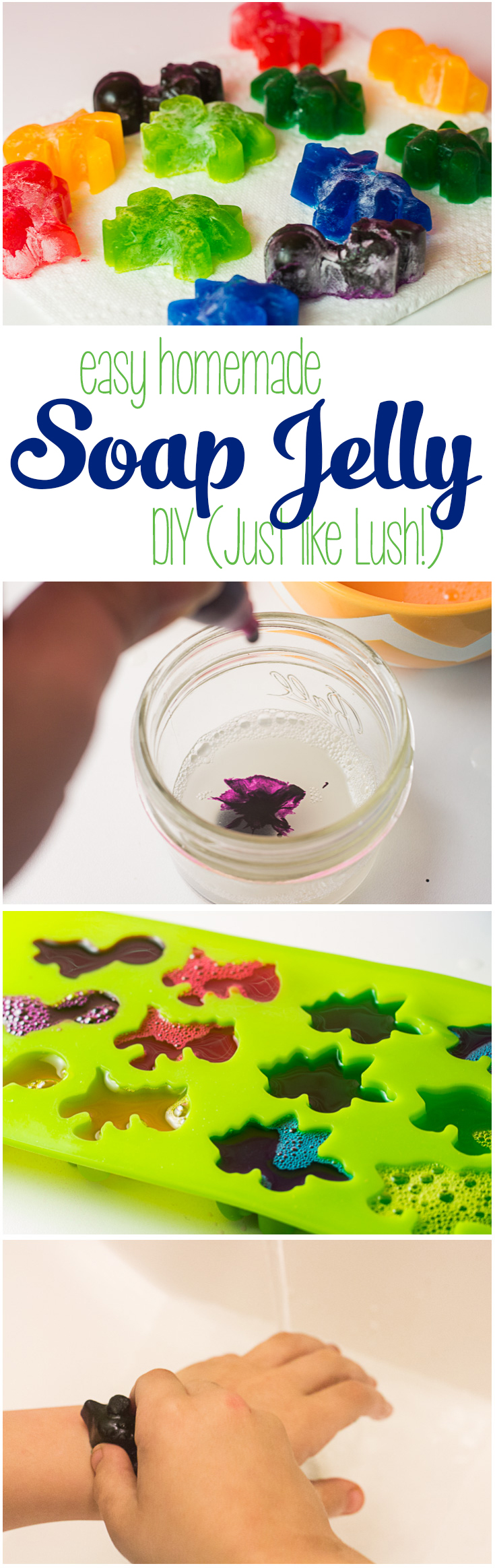 If you love Shower Jelly like the kind you find at LUSH, you'll love this easy-to-make DIY Soap Jelly that is as fun to make as it is to bathe with! It's nice and cool for showering off in the summertime, and a fun way to get clean after playing in the mud and dirt. What kid wouldn't love their own jelly soap? | DIY Soap Jelly | Jelly Soap Homemade | How to Make LUSH Shower Jelly |