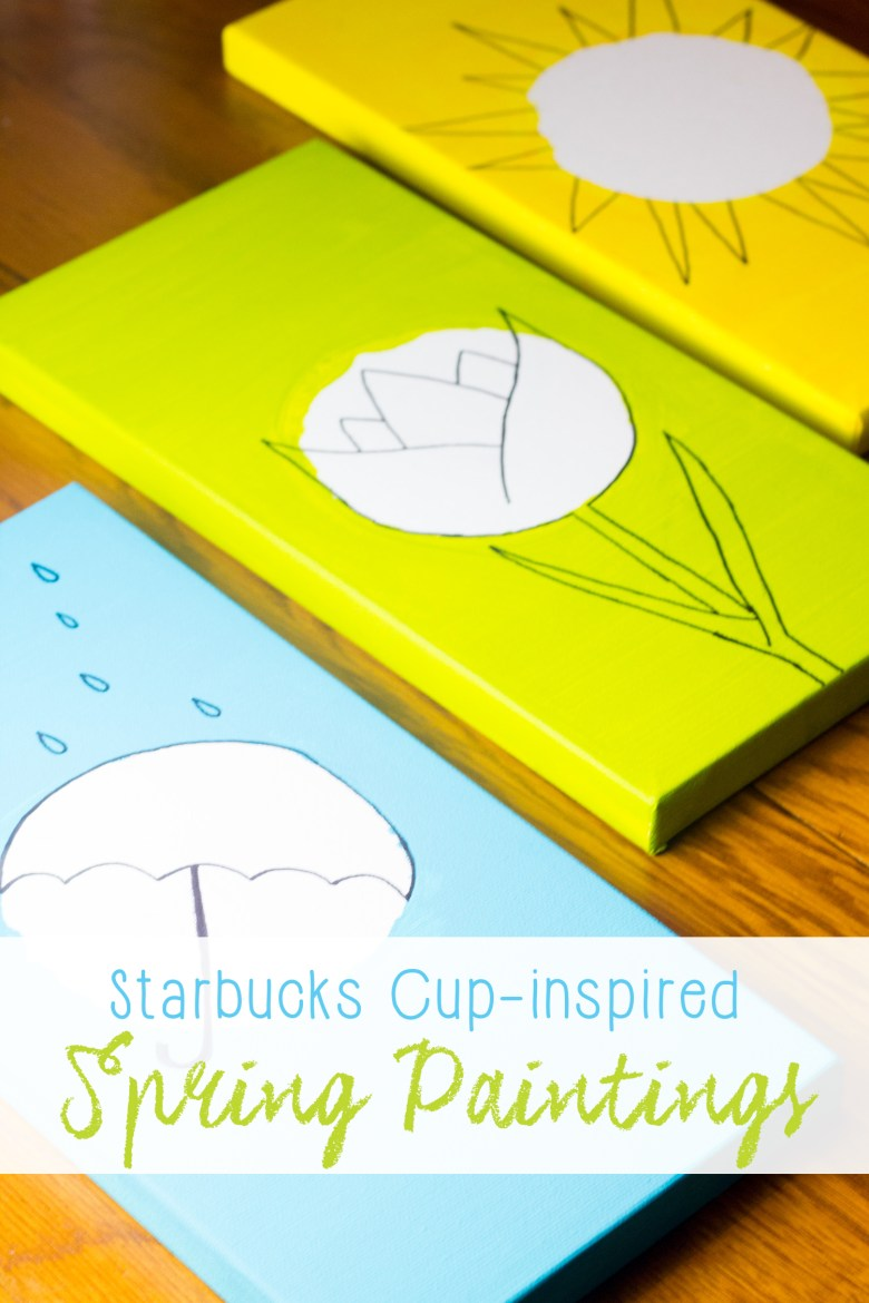 If you're obsessed with those super pretty spring Starbucks cups, you're going to love these beautiful spring paintings inspired by the designs! Plus, they're so easy to make that you can whip them up while watching your favorite TV show. | DIY Painting Idea |