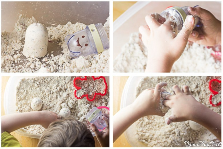 This cloud dough is so easy to make-- only 2 ingredients and less than 5 minutes of effort for a great sensory toy your kids will love. Plus, since it's safe to eat, it's okay if little fingers take a little nibble, too! DIY cloud dough | moon dough | sensory bin filler |