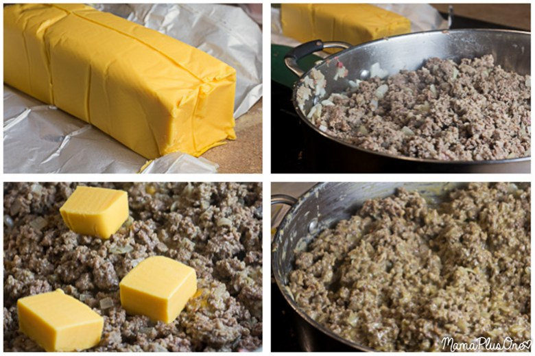 This easy weeknight meal will be a hit with the whole family! Only 5 ingredients, and so easy to make. | Breakfast Sausage | Ground Beef | Velveeta | Game Day Recipe | Weeknight Meal |